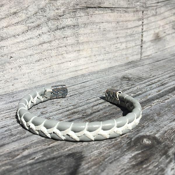 JJJ LA Armspange graues Leder 925er Silber 10 mm Breite, 180 mm Lang
