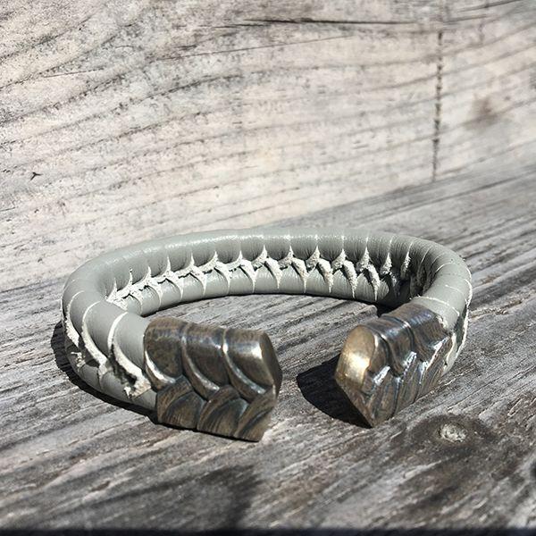 JJJ LA Armspange graues Leder 925er Silber 20 mm Breit, 210 mm Lang