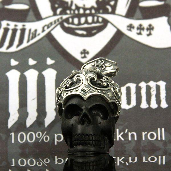 """JJJ LA Anhänger """"BIG Skull Crown"""" Schädel mit Krone aus 925er Silber"""
